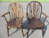 Two Elm & Beech Wheelback Carver Armchairs